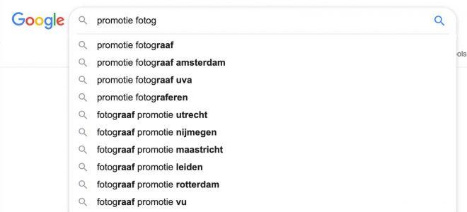 Google auto-complete voor promotie foto's