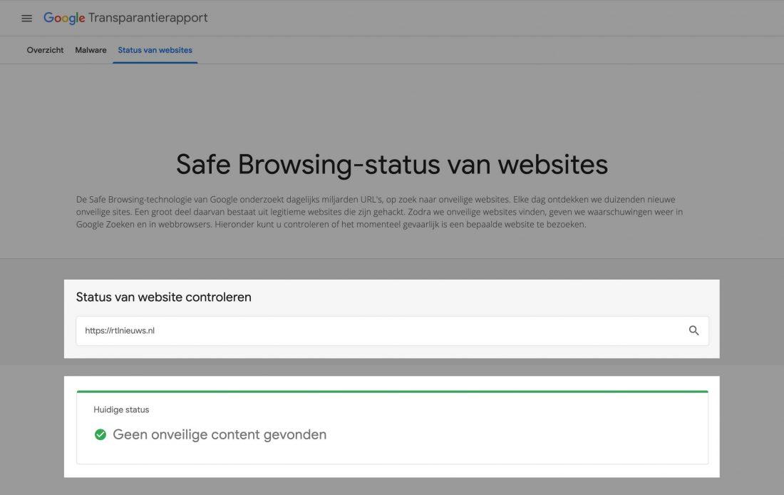 Check de website veiligheidsstatus in het Transparantierapport van Google.