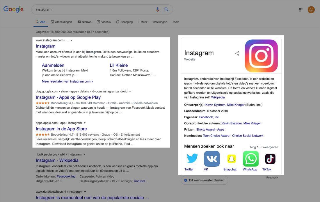 De zoekopdracht 'instagram' heeft een navigationele zoekintentie.