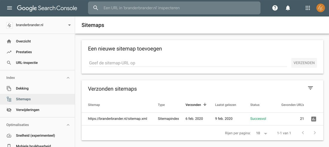 sitemap toevoegen in Search Console