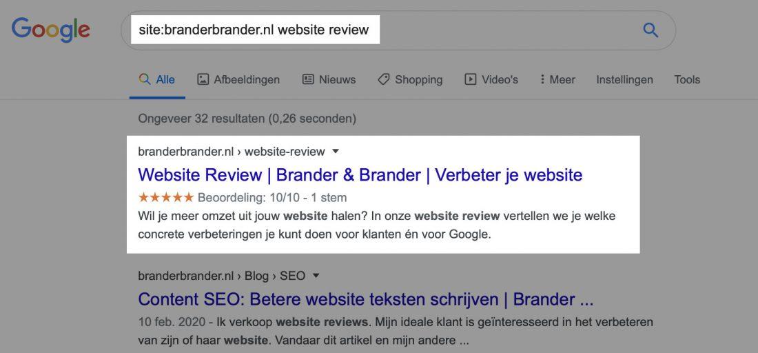 """Gebruik de """"site"""" filter om naar pagina's op 1 website te zoeken."""
