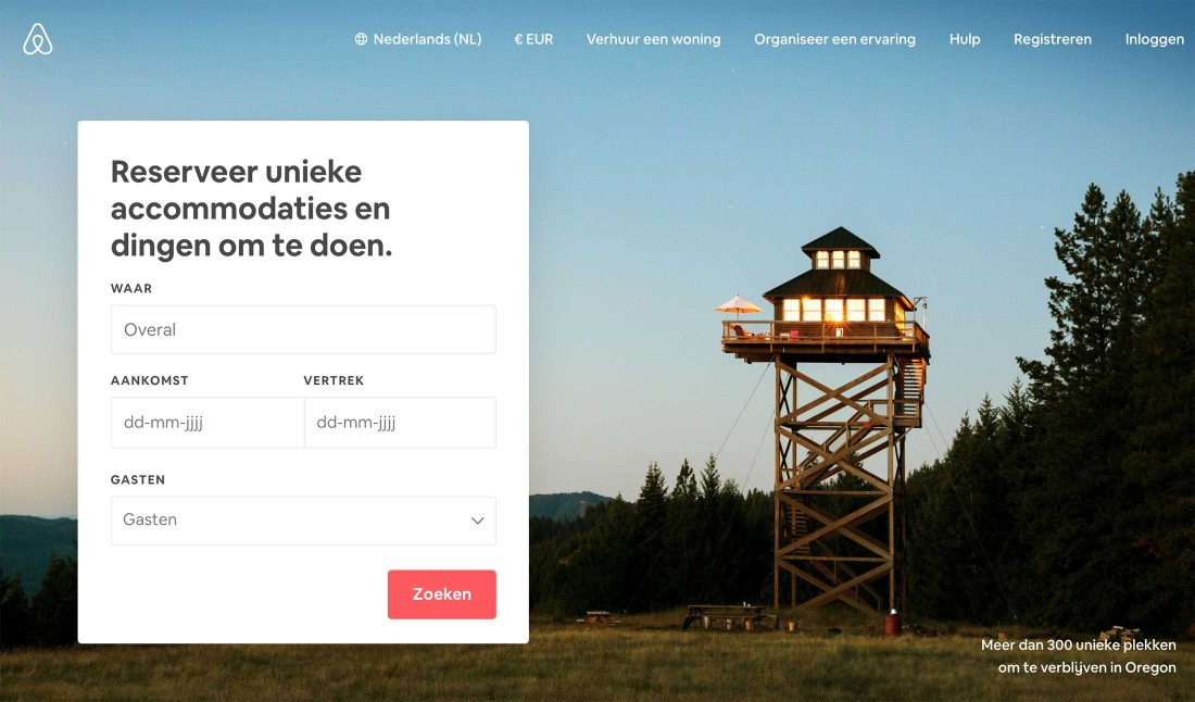 De homepage van Airbnb