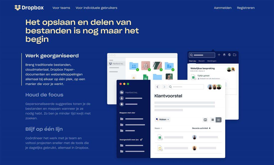 Homepage van Dropbox