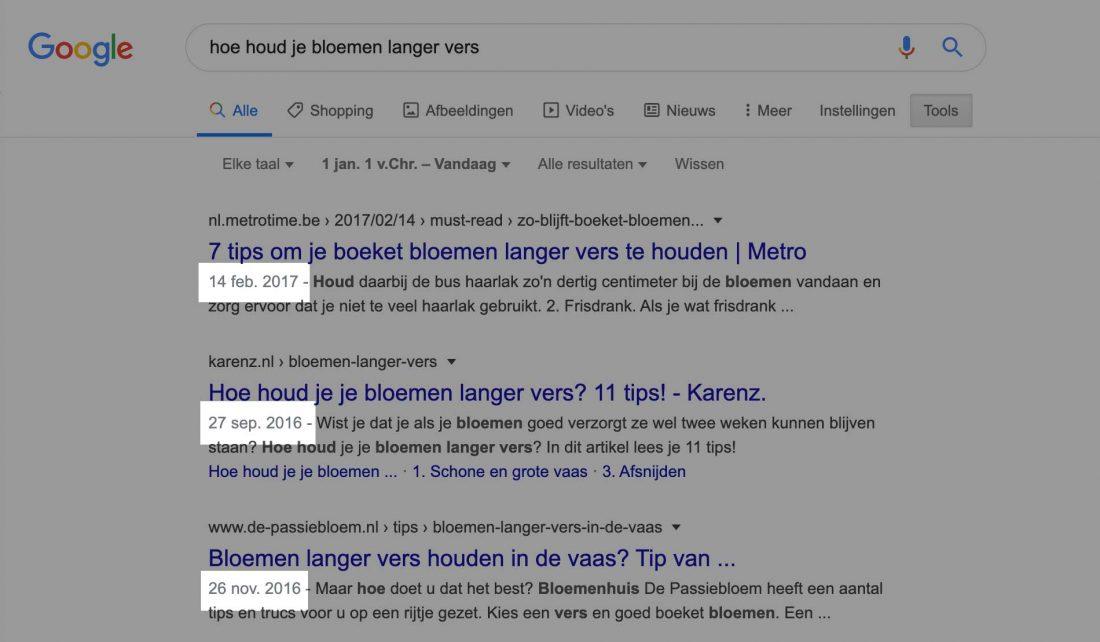 Google SERP met resultaten van 3-4 jaar oud