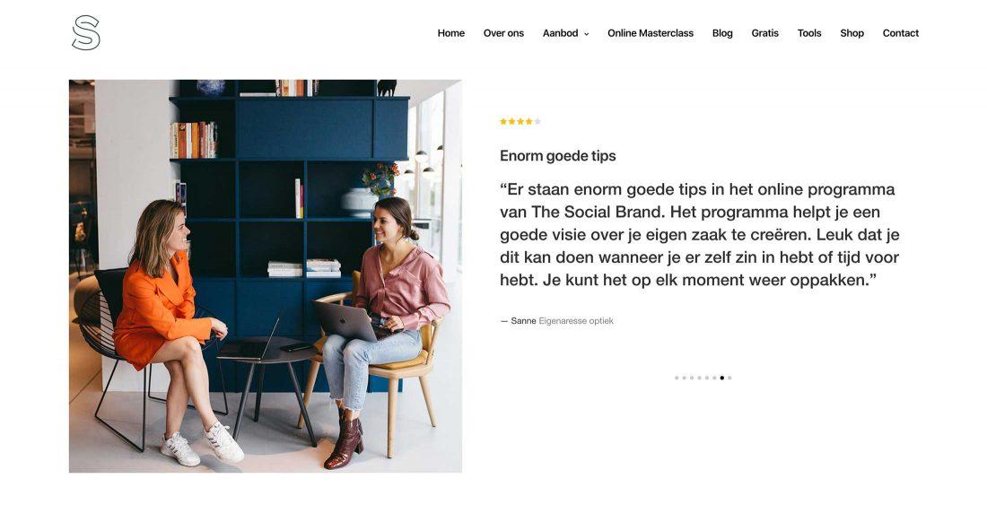 Testimonials op de homepage van The Social Brand