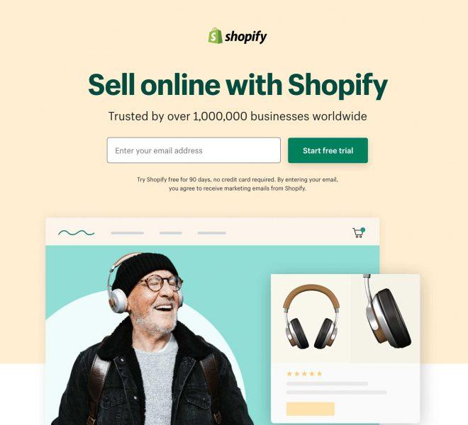 Landingspagina van Shopify's free trial