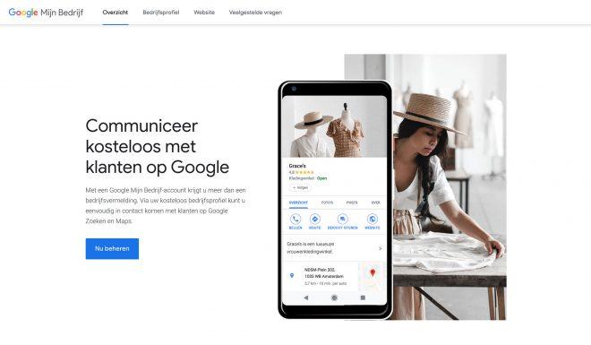 Google Mijn Bedrijf homepagina