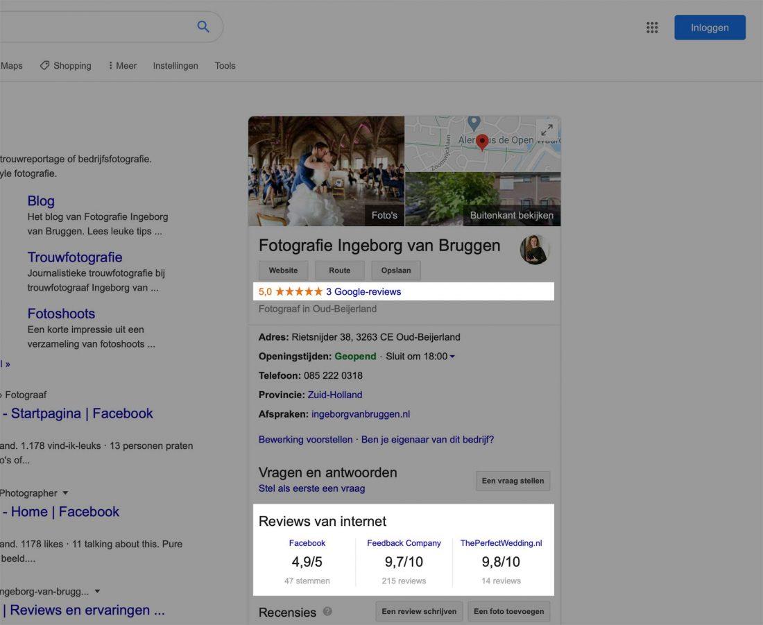 Reviews in een bedrijfsprofiel op Google