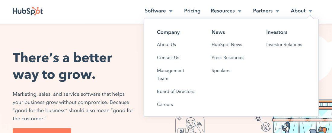 Mega menu op de website van Hubspot