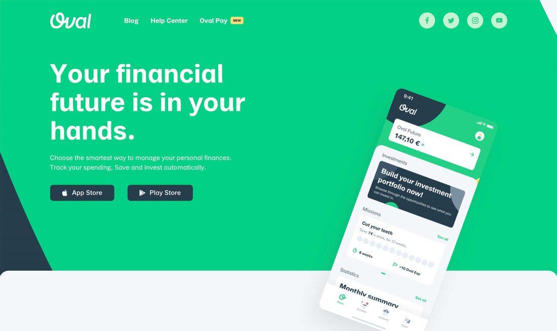 De homepage van Oval Money