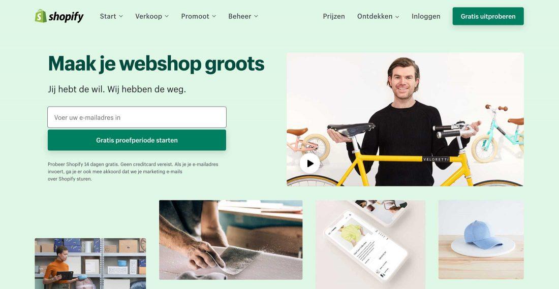 De homepage van Shopify