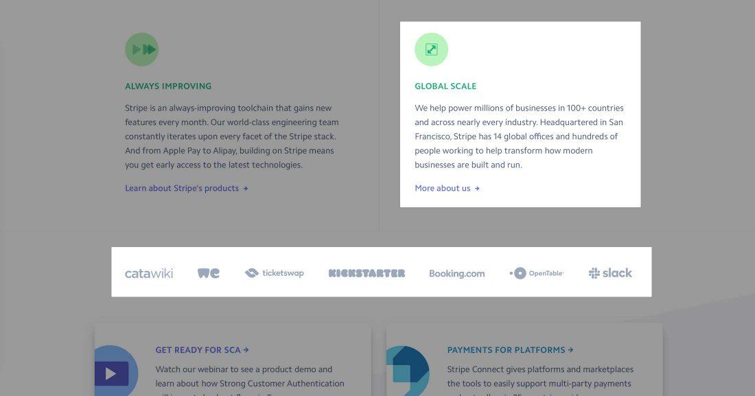 Social proof op de Stripe homepage