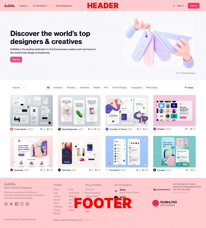 De header en footer op een webpagina