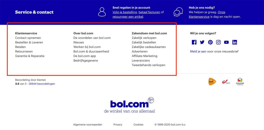 3 logische kolommen in de footer van Bol.com