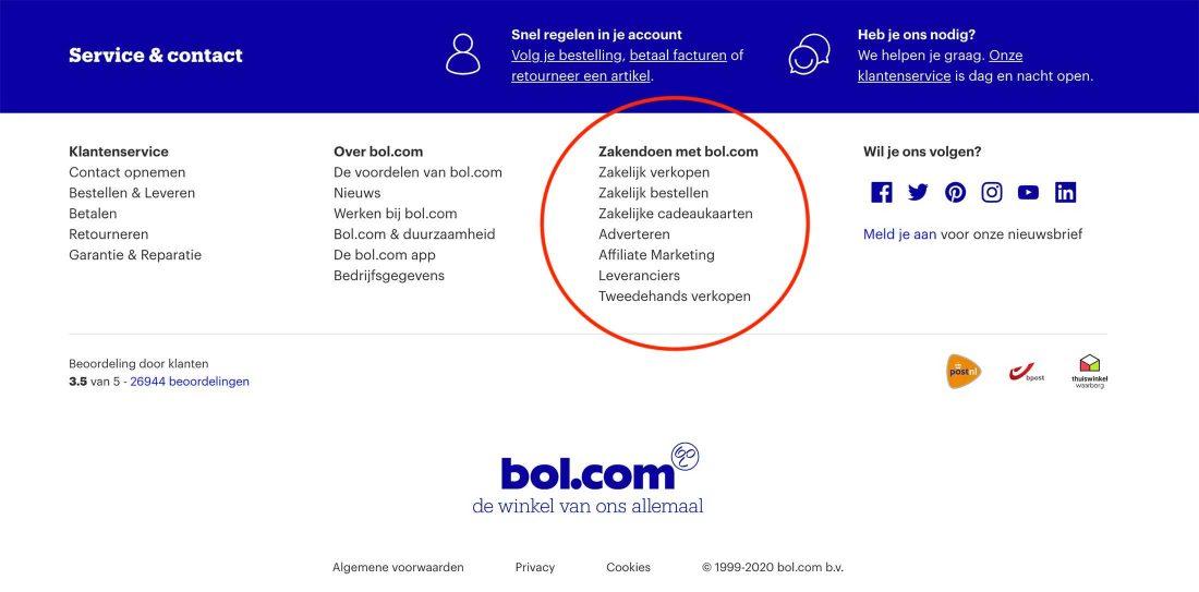 De sectie voor zakelijke klanten in de footer van Bol.com