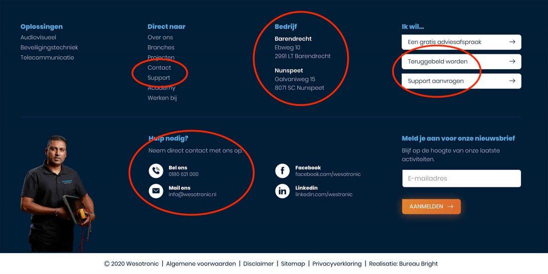 Contact informatie in de footer van Wesotronic