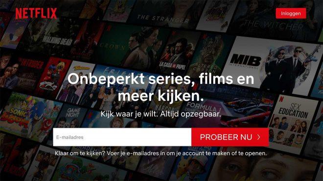 Netflix CTA met de tekst Altijd Opzegbaar erboven