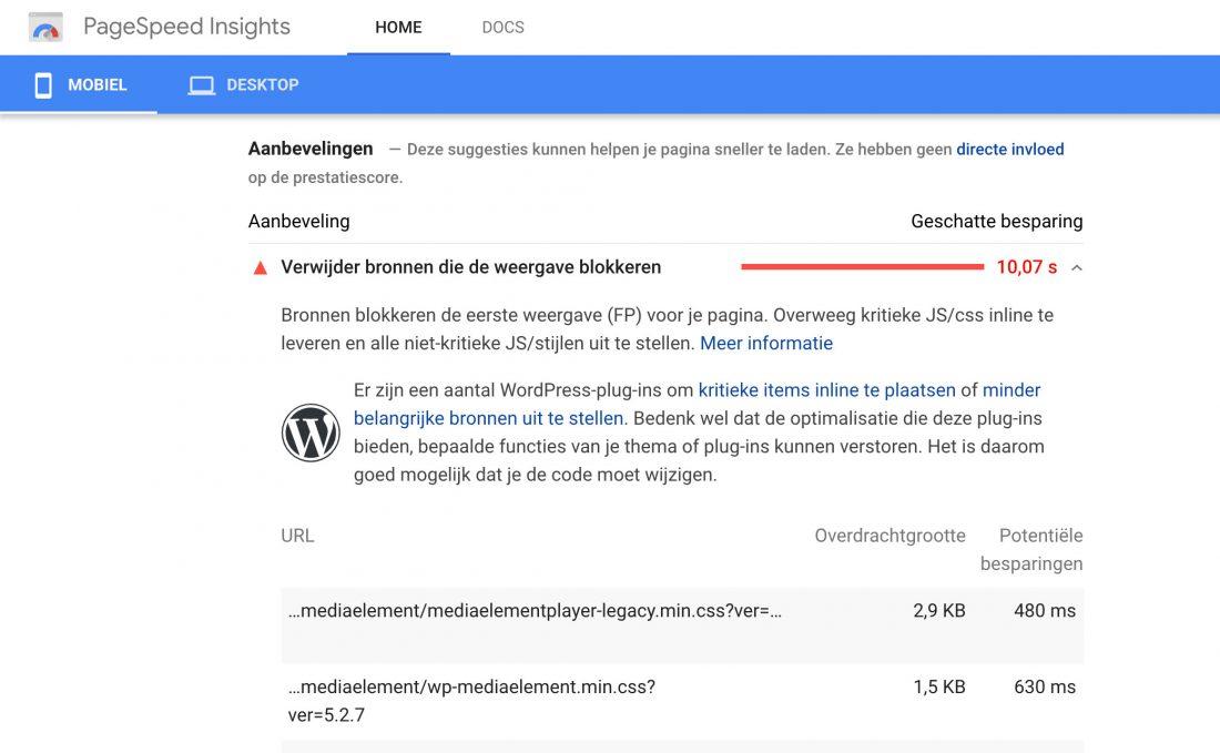 PageSpeed Insights - Verwijder bronnen die weergave blokkeren aanbeveling