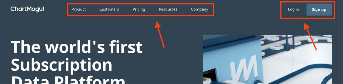Voorbeeld van een navigatiemenu op website