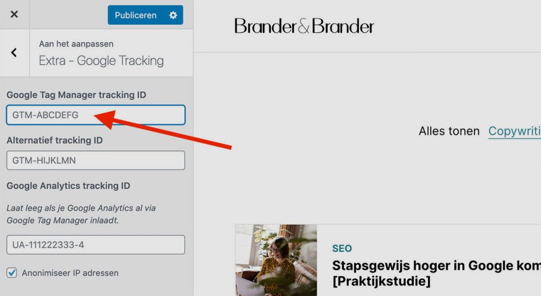 Google Tag Manager tracking ID invoeren