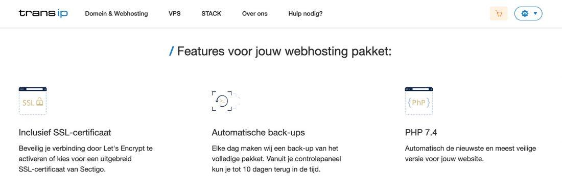 TransIP webhosting features