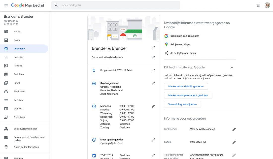 Google Mijn Bedrijf dashboard