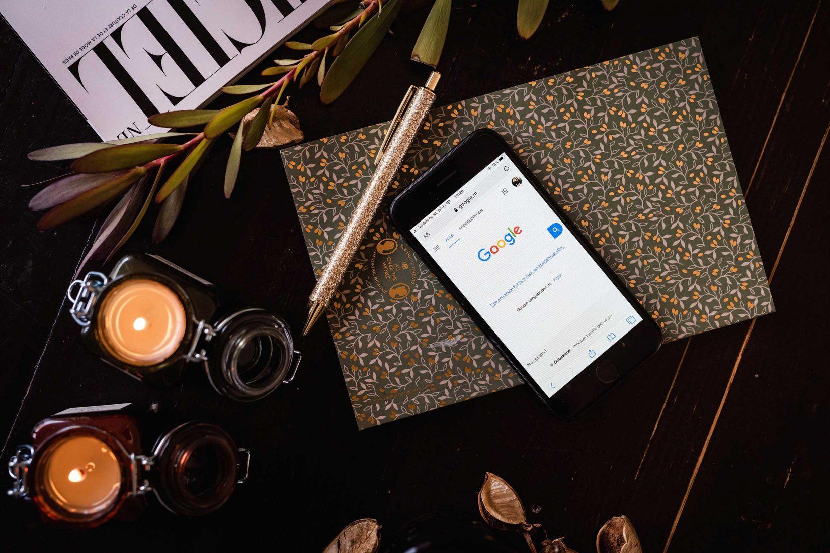 Google op een smartphone browser