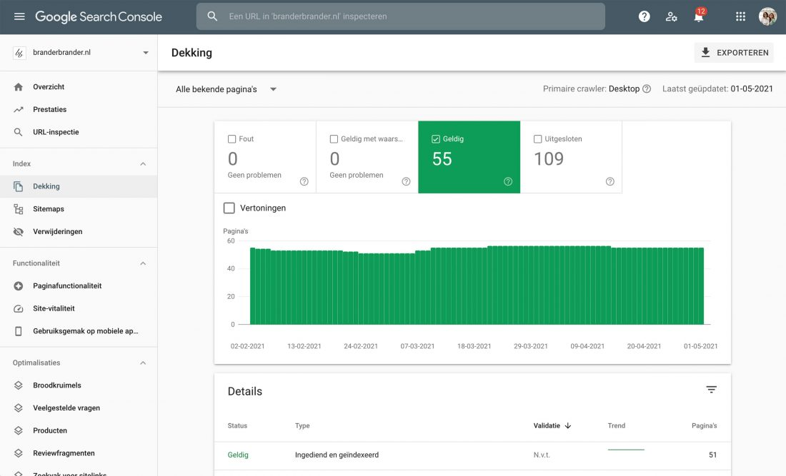 Google Search Console dekking weergave