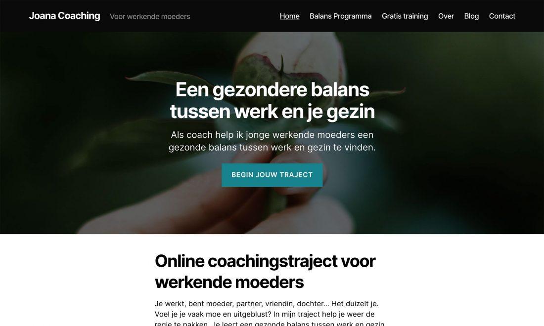 Homepage met duidelijke teksten