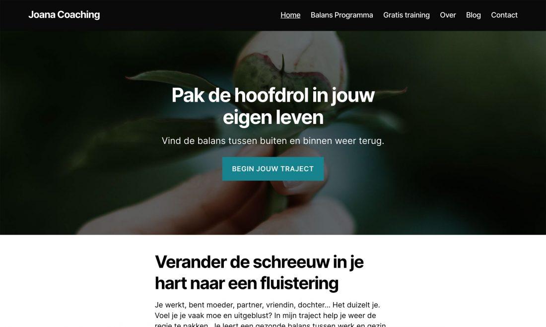 Homepage met onduidelijke teksten
