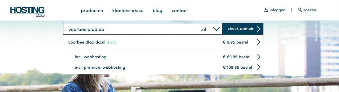 Domeinnaam checken bij een webhosting provider